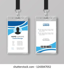Corporate ID Card Template with Blue Details