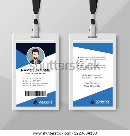 Corporate ID Card Template Blue Details Stock Vector (Royalty Free ...