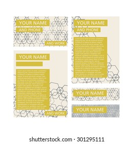 Corporate identity abstract design set isolated vector illustration yellow text boxes on brown hexagon lines, cream colored background template