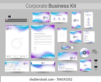 Corporate Identity with abstract flowing waves. Business branding stationery kit as Letter Head, Web Banner or Header, CD, USB Flash Drive and Envelope etc.