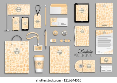 Corporate identity with apiculture template set. Business stationery mock-up with logo. Branding design. Background with honey beekeeping icons