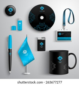 Corporate identity blue and black design set with cup pen cd and id card isolated vector illustration