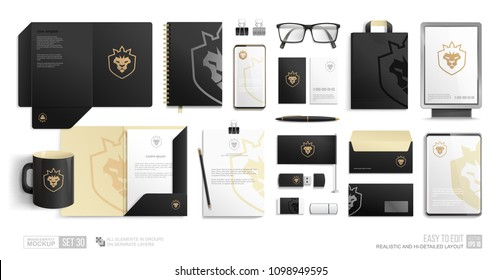 Corporate Identity Brand Mockup set on white background. Pealistic Branding mock-up of city lightbox, folder, blank, phone, tablet. Business Stationery Black mockup with golden lion crown icon logo