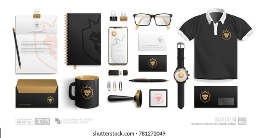 Corporate Identity Brand Mockup set on white background. Business Stationery Black mockup with golden lion crown icon logo. Personal Branding mock-up of corporate mug, notepad, blank, phone, envelope