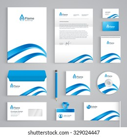 Corporate identity branding template. Abstract vector stationery design with waves or flame symbol on white background. Business documentation