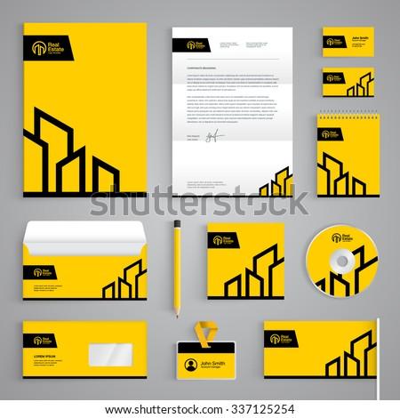 Branding Template | Corporate Identity Branding Template Real Estate Stock Vektorgrafik
