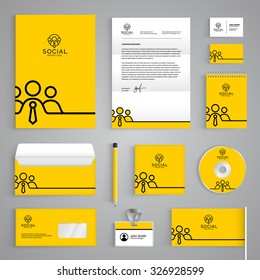Corporate identity branding template. Vector stationery design with team community social yellow background. Business documentation