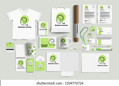 Corporate identity of the business courses company. Stock vector mockup set. Template design elements business courses company. Illustration of a set of design templates for business courses company
