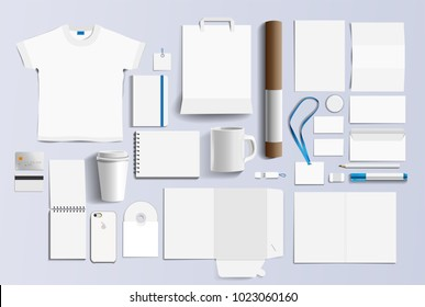 Corporate identity business items. Stock vector mockup set. Template blank design elements business stationery. Illustration of a set of design templates for business. Vector icons office stationery