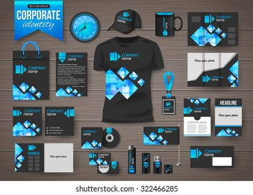 Corporate identity business photorealistic design template over wooden background. Vector illustration