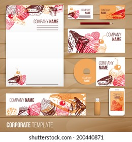 Corporate identity business set design. Abstract background with vintage party pastry, cakes and sweets. Vector illustration.