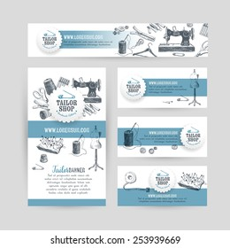 Corporate identity business set design with tailor and sewing tools.  Vintage background. Vector illustration.Hand drawn retro illustration. Sketch.