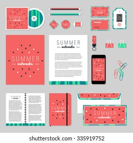 Corporate identity business set design. Vector stationery template design with ice-cream elements. Documentation for business.