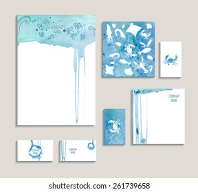 Corporate identity business set with seafood. Template for branding identity, business ?ard, invitations, restaurant brochure, restaurant menu with seafood on watercolor background.