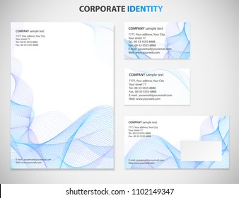 Corporate Identity, Business style  template with Blue abstract Guilloche pattern white background. Useful for letterhead, presentation, booklet, business card, documents. Vector design layout, mockup