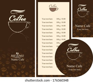 corporate identity for the cafe menu, business cards and coasters
