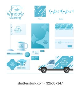 Corporate identity. Cleaning service. Logo and design elements.