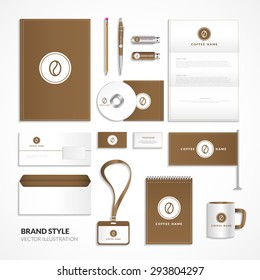 Corporate identity for coffee shop. Signature style in brown tones for coffee. Set of corporate identity for coffee.