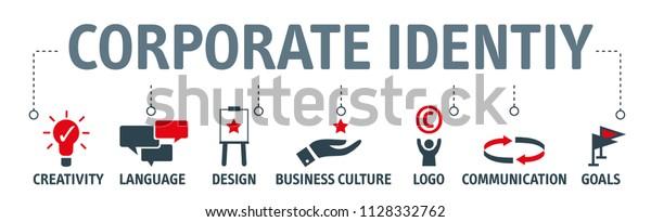 Corporate Identity Konzept. Vektorgrafik-Design mit Schlagwörtern und Symbolen