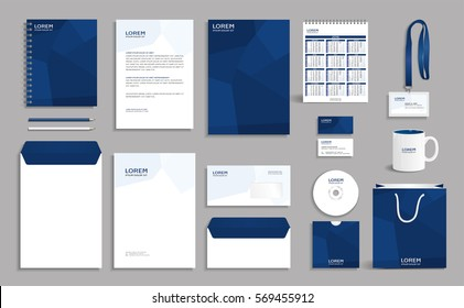 Corporate identity design mock-up with blue abstract polygonal background, eps10