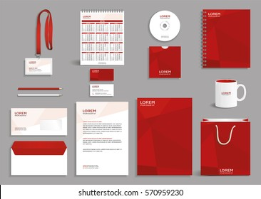 Corporate identity design mock-up with red abstract polygonal background, eps10