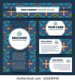 Corporate identity design with simple flowers pattern, vector illustration