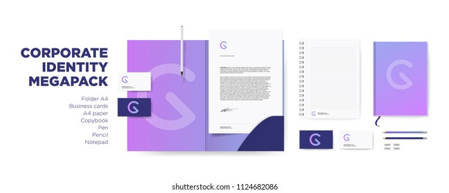 Corporate Identity Design Stationery Mockup Vector Megapack Set