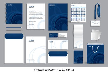 Corporate identity design template with abstract blue pattern