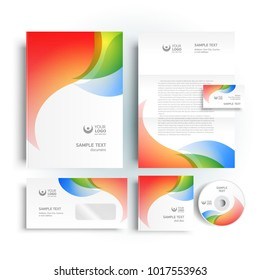 Corporate identity design template colored curves
