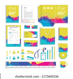 Corporate identity design template with colorful polygonal pattern