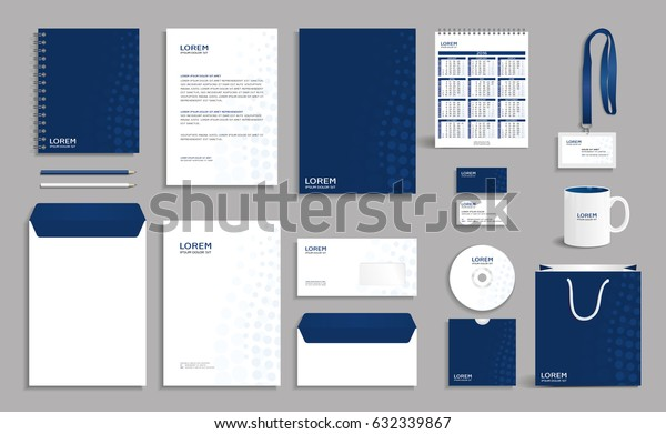 Corporate identity design template with dark blue circles background