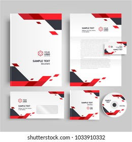 Corporate identity design template geometric theme red color