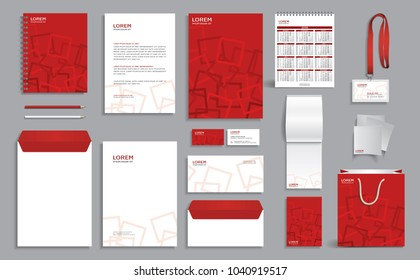 Corporate identity design template with red geometric pattern