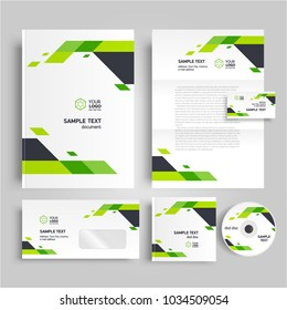 Corporate identity design template stripes elements green color