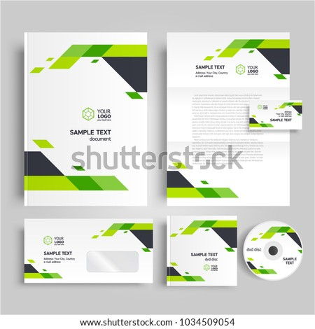 Corporate identity design template stripes elements stock vector corporate identity design template stripes elements green color maxwellsz