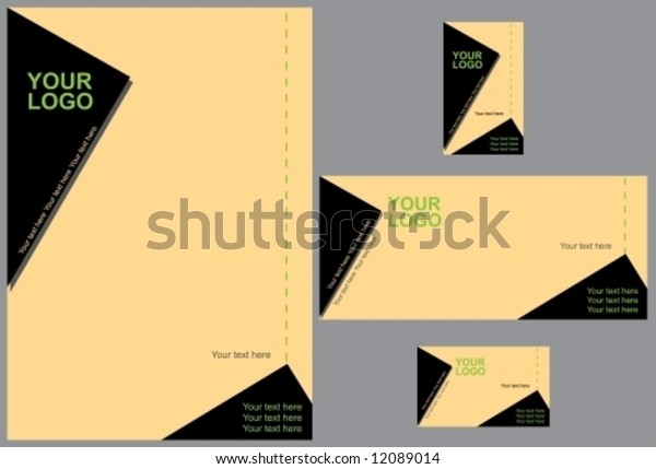 Corporate identity design template vector with memo, envelope and horizontal and vertical visiting cards. Attention: BLACK is 100% CMYK.