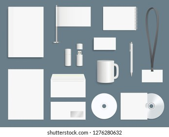 Corporate identity elements. Business stationary mockup collection branding symbols vector design template
