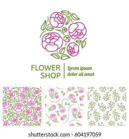 Corporate identity for a flower shop. The logo in the linear style and three seamless pattern