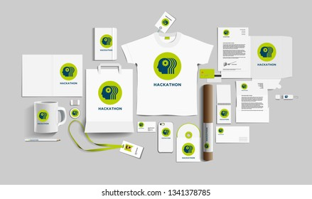 Corporate identity of the hackathon company. Stock vector mockup set. Template design elements hackathon company. Illustration of a set of branding design templates for business hackathon company