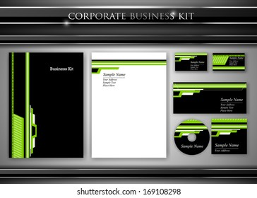 Corporate identity kit or professional business. Includes CD Cover, Business Card, Envelope and Letter Head Designs. Vector