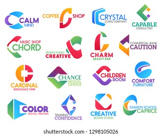 Corporate identity letter C business icons. Vector medicine and drink, consulting and music, design and beauty, banking, brokerage and entertainment, furniture. Technology and education, fashion signs