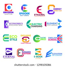 Corporate identity letter E business icons. Vector gaming and entertainment, science, sport and banking, electricity and finance. Ecology and transport, education and statistics, fashion and shopping