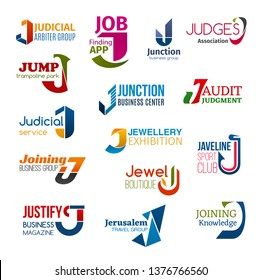 Corporate identity letter J business icons. Jurisprudence and job, entertainment and audit, jewellery and sport, fashion and typography, travel and education. Vector emblems, signs and symbols