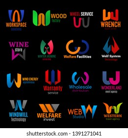 Corporate identity letter W icons of business company corporate identity. Workspace solution agency, wood factory or wine store and web design studio, travel and technology service vector W signs