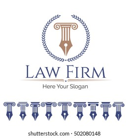 Corporate Identity Logo law firm, Law Office, Lawyer services, Vector logo template. Set antique columns. Can be used as logo for law firm, architectural, historical or educational concepts