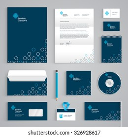 Corporate identity medical branding template. Abstract Pharmacy vector stationery design on dark blue background. Business documentation