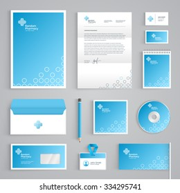 Corporate identity medical branding template. Abstract Pharmacy vector stationery design on light blue background. Business documentation