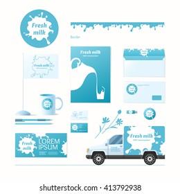 Corporate identity. Milk company. Logo and design elements.