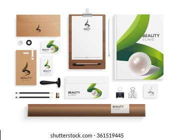 Corporate identity mock up for beauty salon, cosmetic and spa.. Business set of envelope, notebook, card, folder, paper bag, etc. Vector illustration.