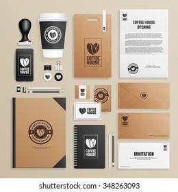 Corporate identity mock up for coffee house, shop, cafe. Business set of envelope, notebook, card, folder, paper bag, menu, paper cup, etc. Vector illustration.